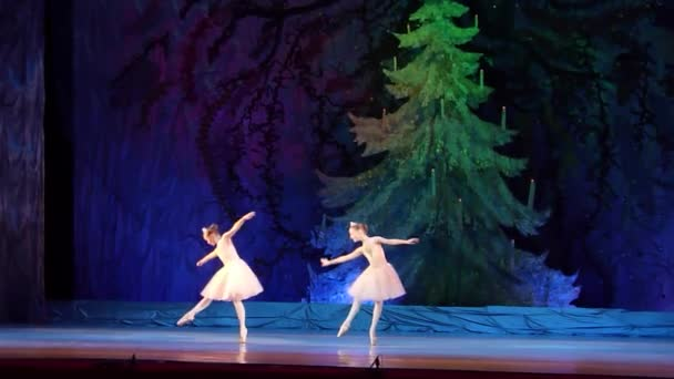 DNIPRO, UKRAINE - JANUARY 8, 2018: Maria Davydova and Daria Konstantinovskaya, ages 10 years old, perform Variation of Pearls from the ballet The Little Humpbacked Horse at State Opera and Ballet Theatre.