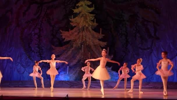 DNIPRO, UKRAINE - JANUARY 8, 2018: Unidentified girls, ages 10-11 years old, perform Pizzicato from the ballet Harlequinade at State Opera and Ballet Theatre.