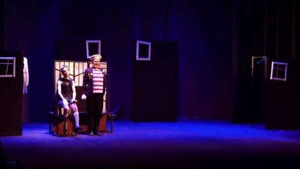 DNIPRO, UKRAINE - JANUARY 20, 2018: Broad comedy on the Tale of Leonid Filatov About Fedot-Sagittarius, a striking young man performed by members of the Dnipro State Drama and Comedy Theatre.