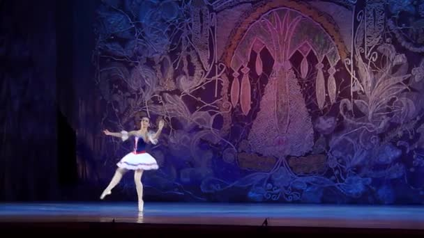 DNIPRO, UKRAINE - JANUARY 8, 2018: Ilona Bytler, age 15 years old, performs Variation of Jeanne from the ballet The Flame of Paris at State Opera and Ballet Theatre.