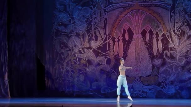 DNIPRO, UKRAINE - JANUARY 8, 2018: Mirra Prohoda, age 14 years old, performs Variation of Odalisque from the ballet Corsair at State Opera and Ballet Theatre.