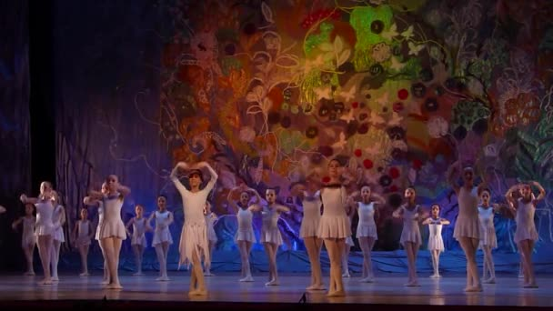 DNIPRO, UKRAINE - JANUARY 8, 2018: Unidentified girls, ages 7-10 years old, perform Ballet pearls show  at State Opera and Ballet Theatre.