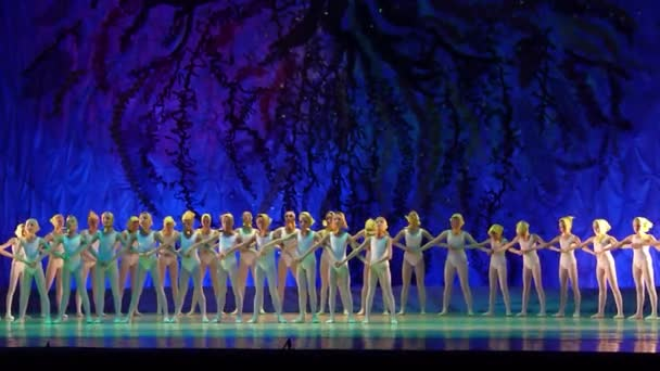 DNIPRO, UKRAINE - JANUARY 8, 2018: Unidentified girls, ages 7-12 years old, perform Ballet pearls show  at State Opera and Ballet Theatre.