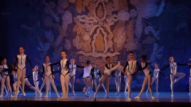 DNIPRO, UKRAINE - JANUARY 8, 2018: Unidentified Children, ages 7-11 years old, perform Seconds  at State Opera and Ballet Theatre.