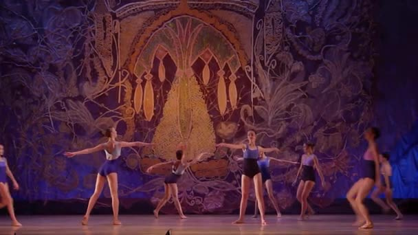 DNIPRO, UKRAINE - JANUARY 8, 2018: Unidentified girls, ages 13-16 years old, perform I remember only a bright day at State Opera and Ballet Theatre.