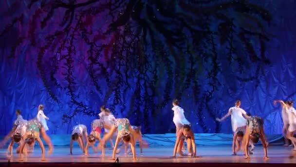 DNIPRO, UKRAINE - JANUARY 8, 2018: Unidentified girls, ages 9-11 years old, perform Talking with an angel at State Opera and Ballet Theatre.