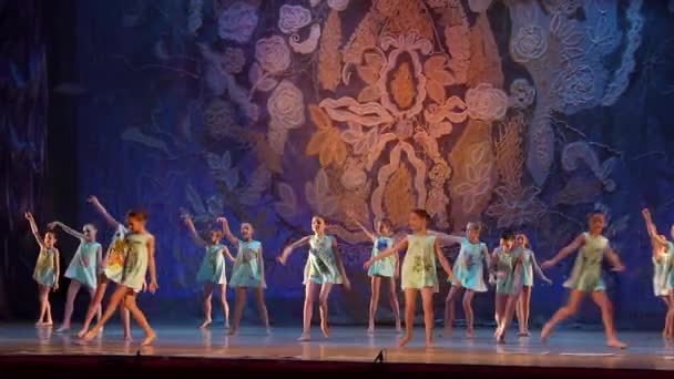 DNIPRO, UKRAINE - JANUARY 8, 2018: Unidentified girls, ages 8-12 years old, perform Illustration of Mom at State Opera and Ballet Theatre.