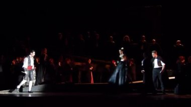 DNIPRO, UKRAINE - FEBRUARY 23, 2018: Classical opera Carmen performed by members of the Dnipro Opera and Ballet Theatre.