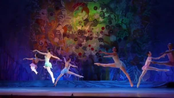 DNIPRO, UKRAINE - JANUARY 8, 2018: Unidentified girls, ages 15-16 years old, perform The whole world at State Opera and Ballet Theatre.