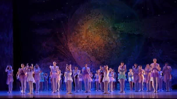 DNIPRO, UKRAINE - JANUARY 8, 2018: Unidentified Children, ages 8-16 years old, perform Everything will be fine at State Opera and Ballet Theatre.