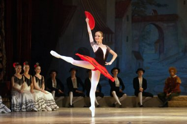 DNEPROPETROVSK, UKRAINE - JUNE 13: Members of the Dnepropetrovsk State Opera and Ballet Theatre perform