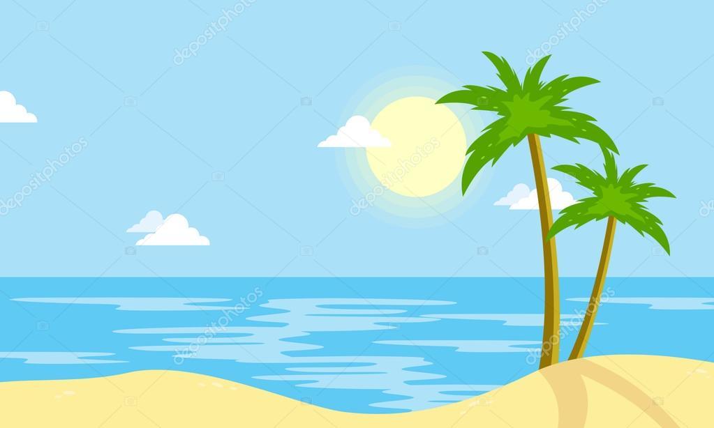 dibujos playas paisaje de playa con dibujos animados de sun vector image sun vector image