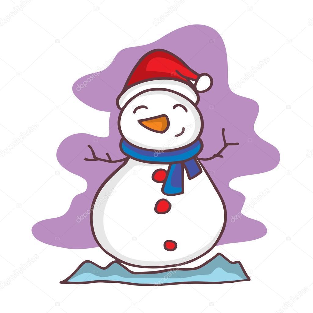 Vector De Dibujos Animados De Navidad Muñeco De Nieve Caracteres
