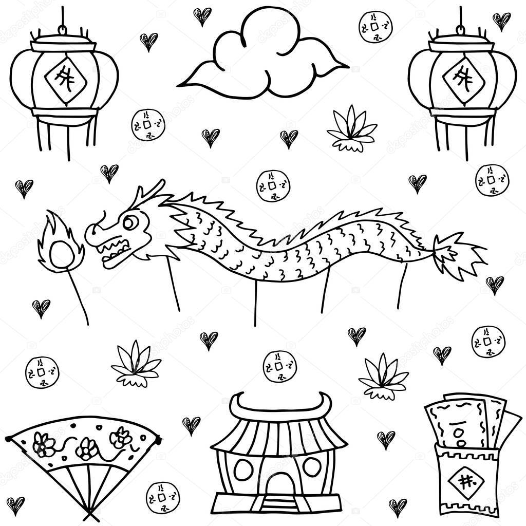Chinesische Drachen Ausmalbilder : Fantastisch Chinese New Year Drachen Malvorlagen Bilder Framing