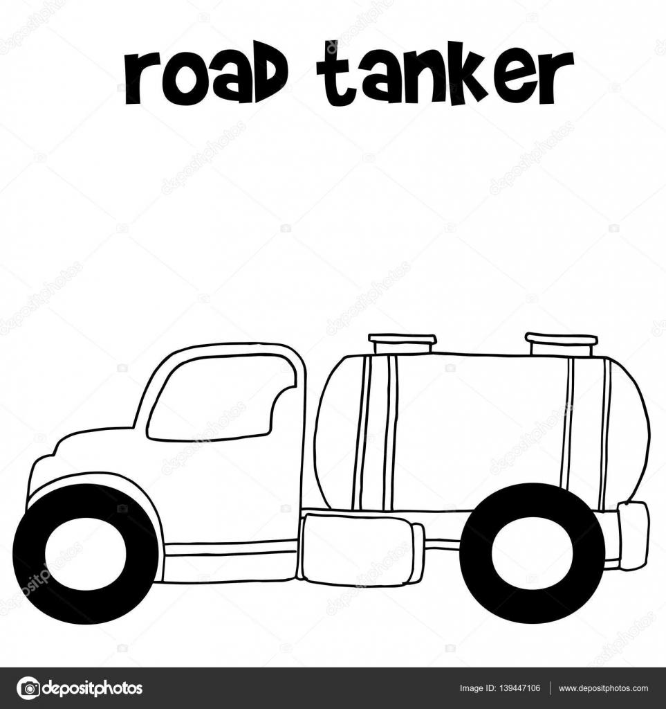 Hand draw road tanker vector — Stock Vector © kongvector #139447106