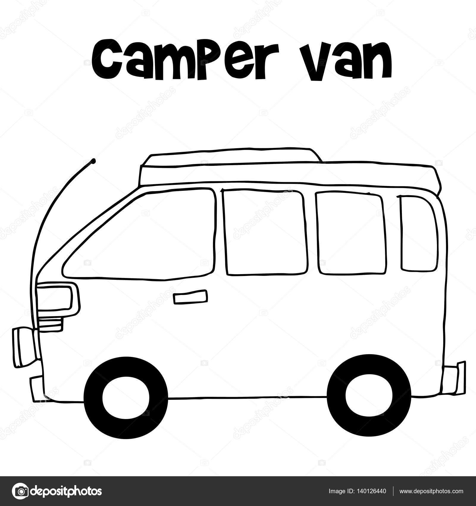 Camping Car Dessin camping-car d'illustration vectorielle — image vectorielle