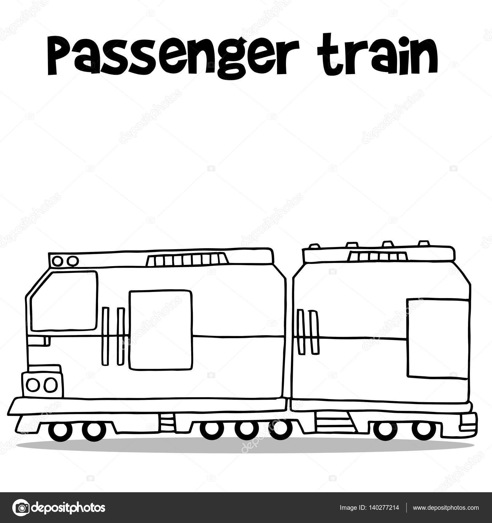 Personenverkehr Zug Mit Der Hand Zeichnen Stockvektor Kongvector