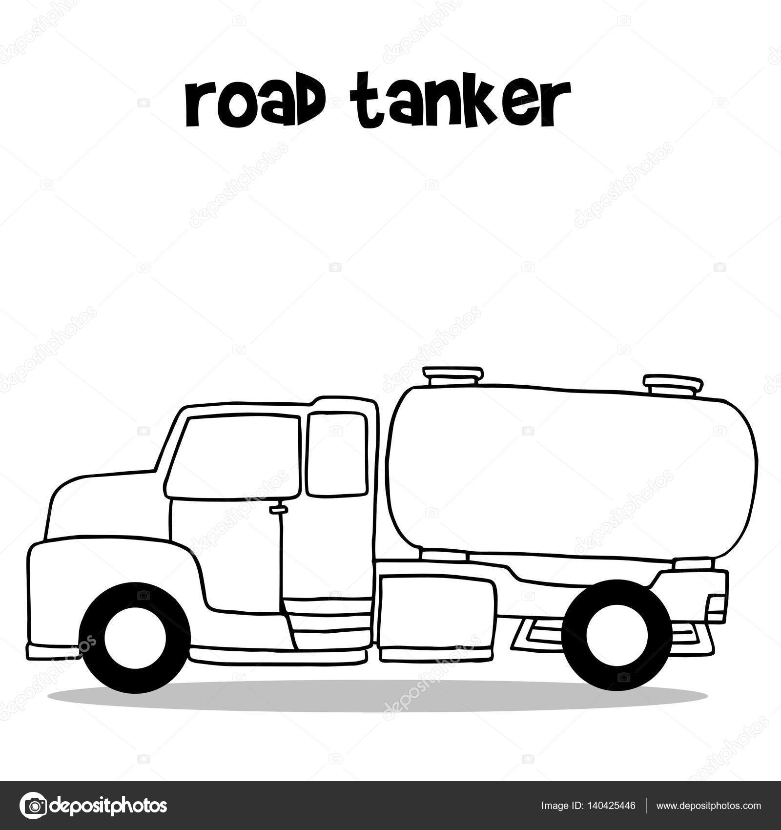 Road tanker with hand draw — Stock Vector © kongvector #140425446
