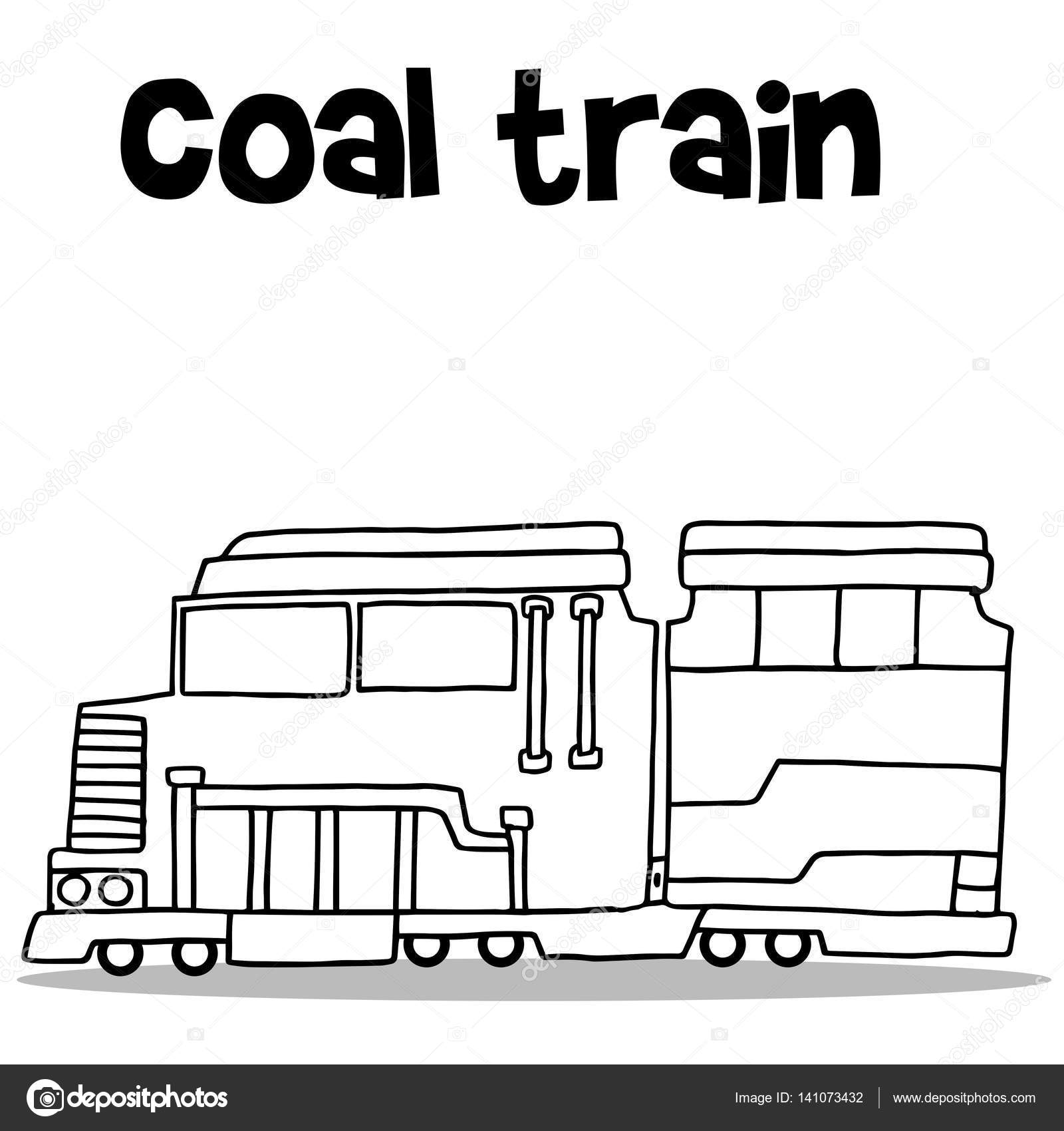 Hand Zu Zeichnen Der Kohletransport Zug Stockvektor Kongvector