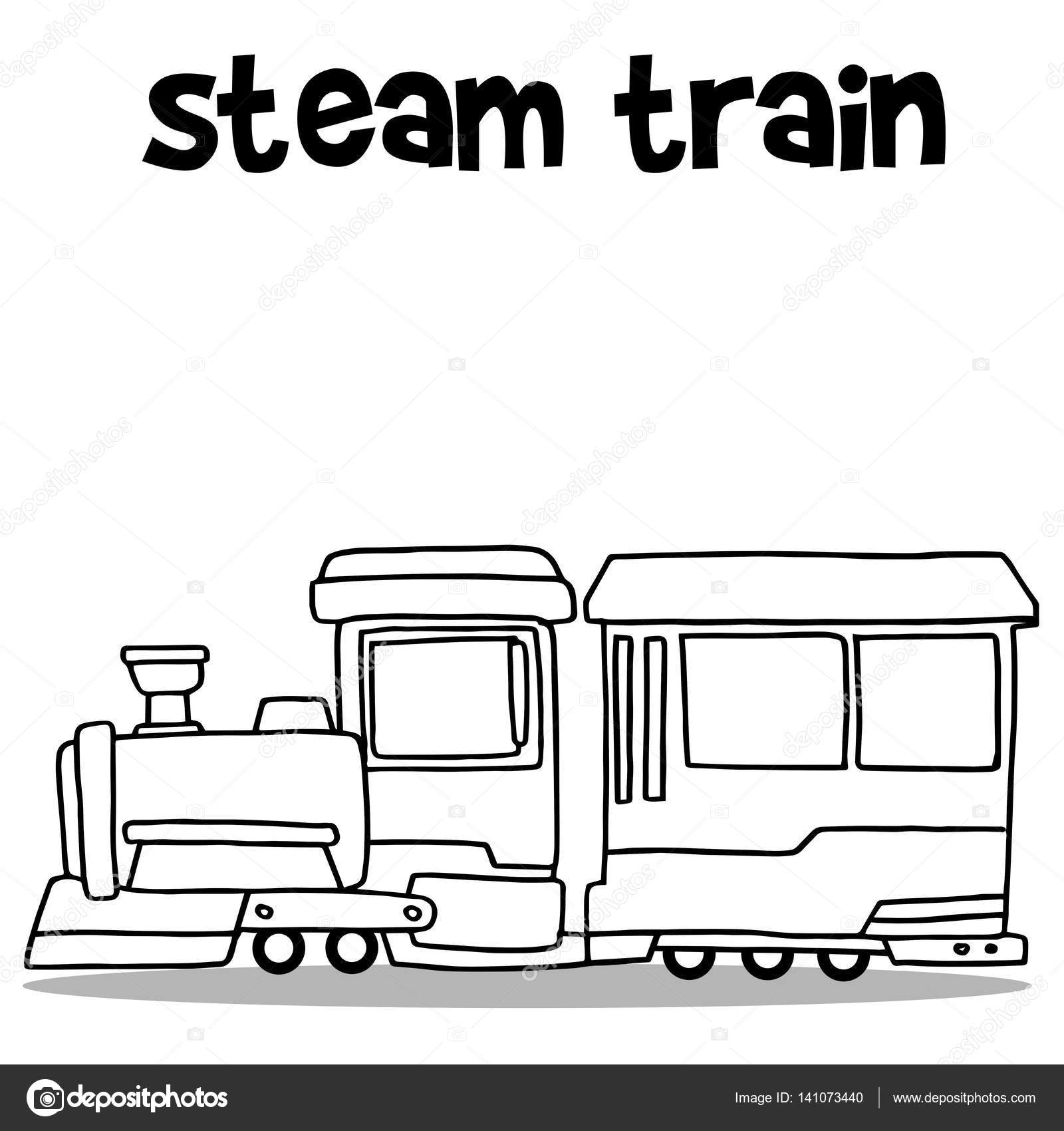 Steam Train Transport Hand Zeichnen Stockvektor Kongvector