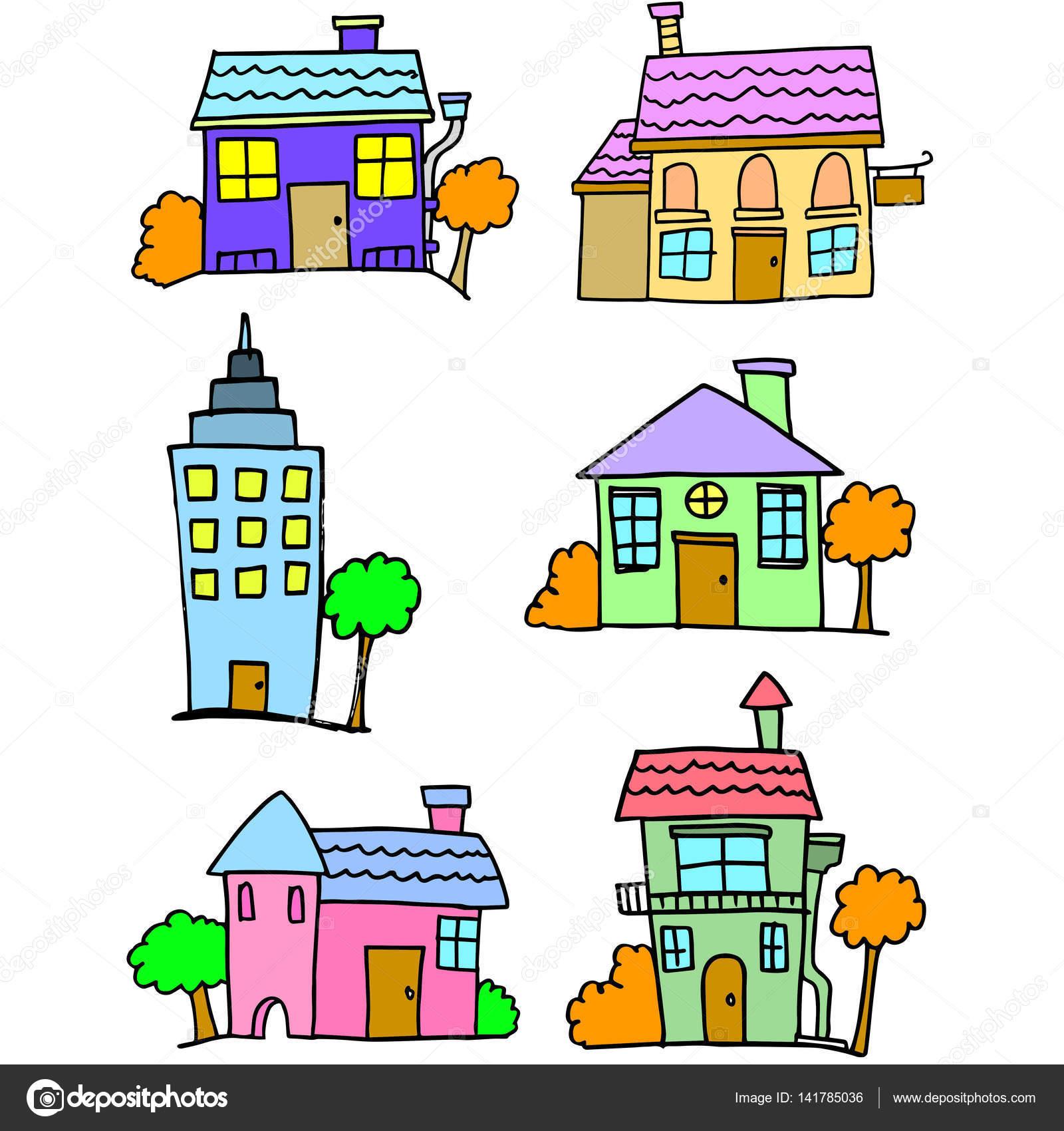 desenho de conjunto de casa colorido vetores de stock kongvector