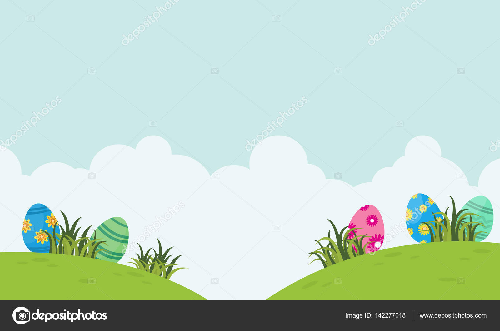 landscape of easter egg and cloud vector stock vector kongvector