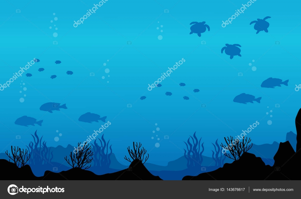 silhouette of fish various underwater landscape stock vector