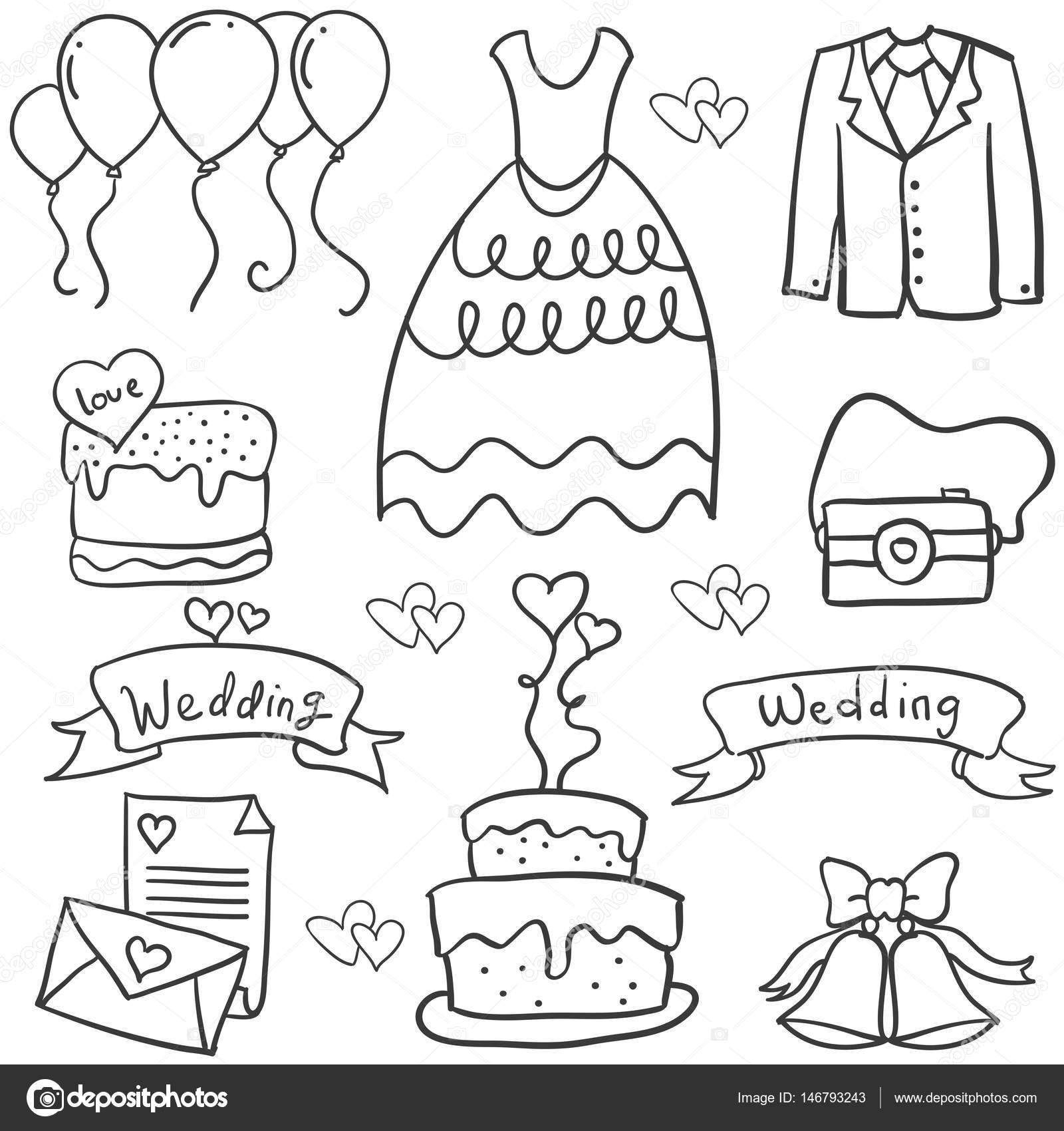 doodle verschillende object bruiloft stockvector