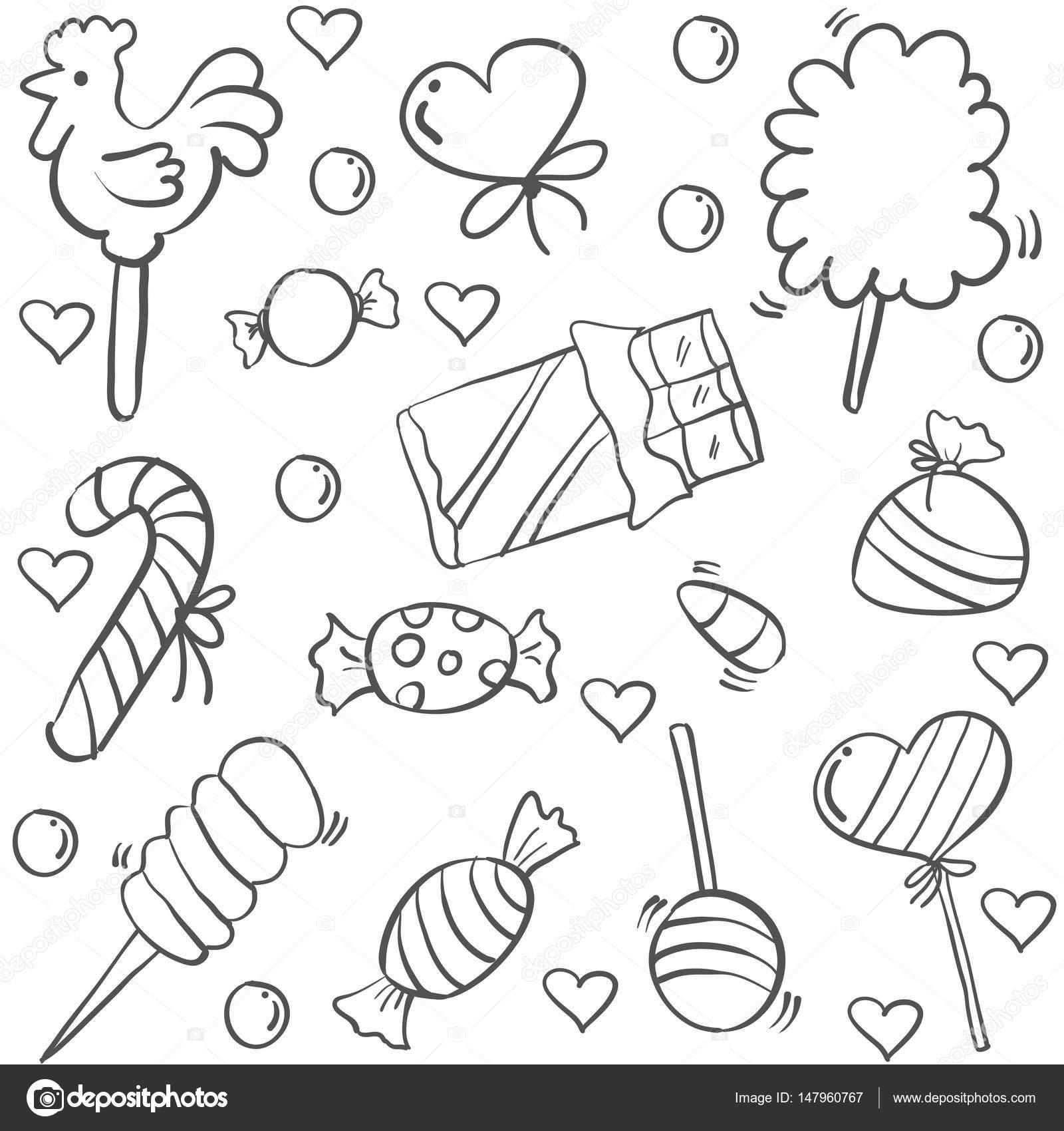 Doodle von Bonbon-süße Skizze-Vektor-illustration — Stockvektor ...