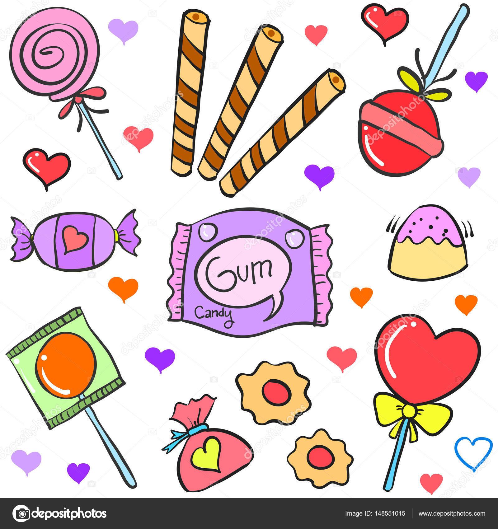 Divers bonbons part dessiner style doodle image - Bonbon a dessiner ...