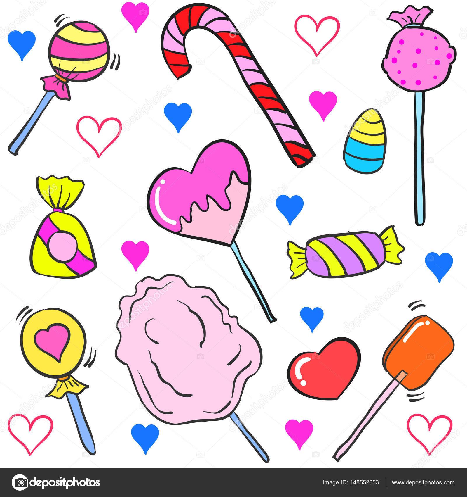Garabato De Vario Estilo De Dibujos Animados Coloridos Dulces