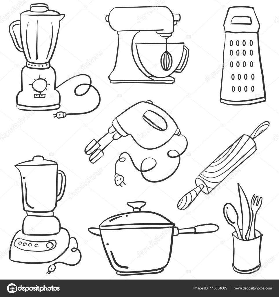 Doodle Küche Set Vektorgrafiken — Stockvektor © kongvector #148654685