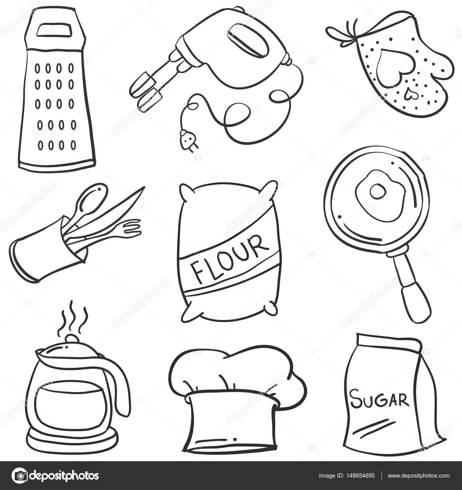 Kitchen Set Hand Draw Style Doodle Stock Vector Kongvector