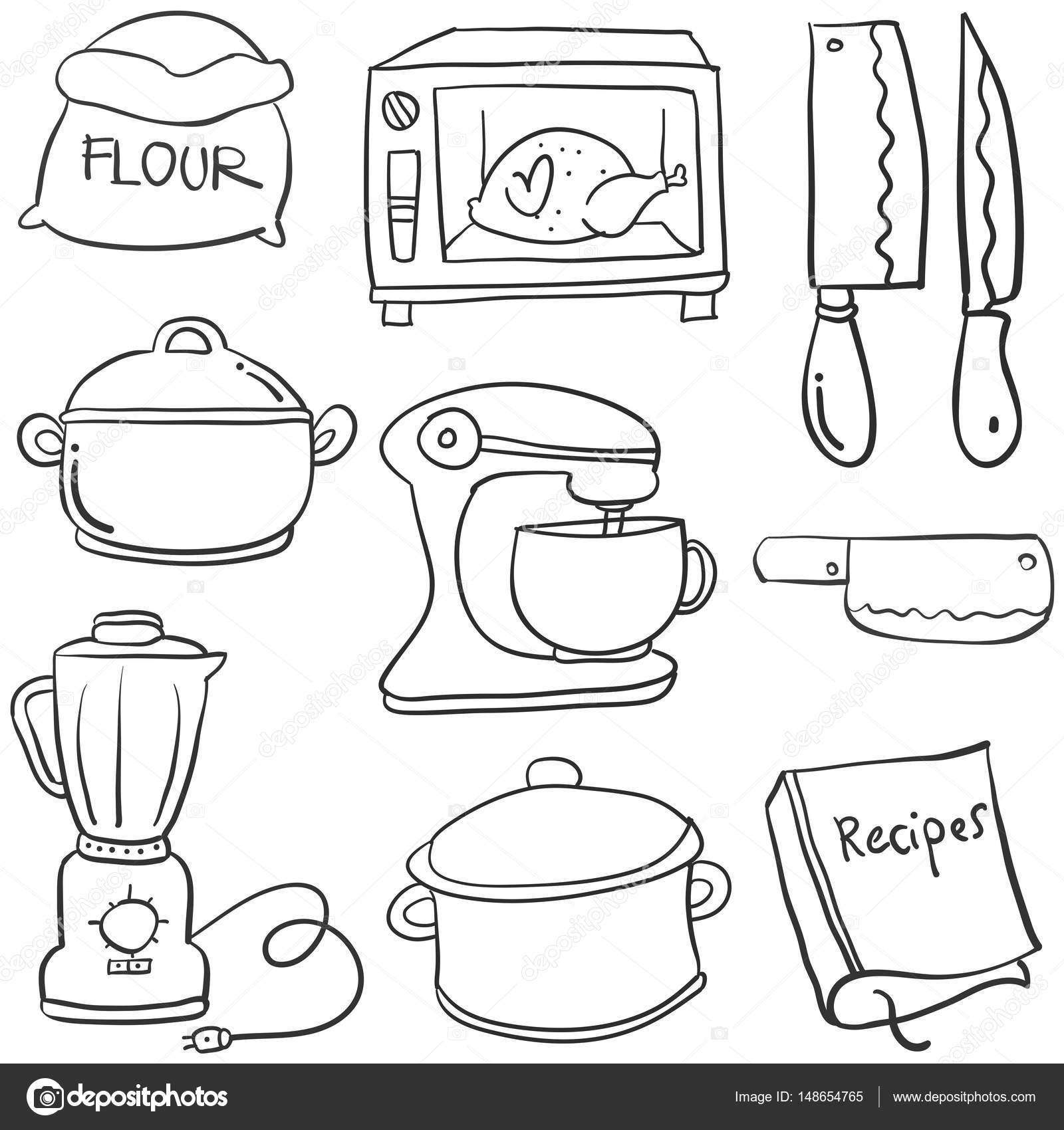 Kitchen Set Hand Draw Cartoon Doodles Stock Vector Kongvector