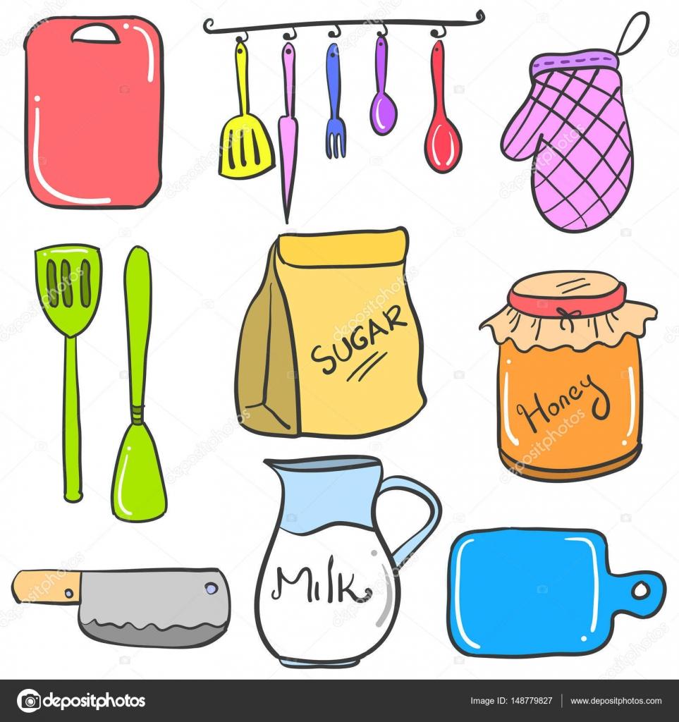 Doodles Sammlung bestand an Zubehör für die Küche — Stockvektor ...