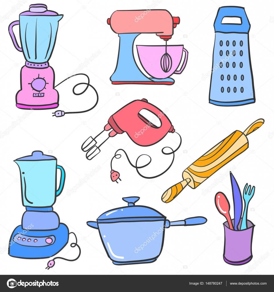 Vector illustration kitchen set doodles stock vector