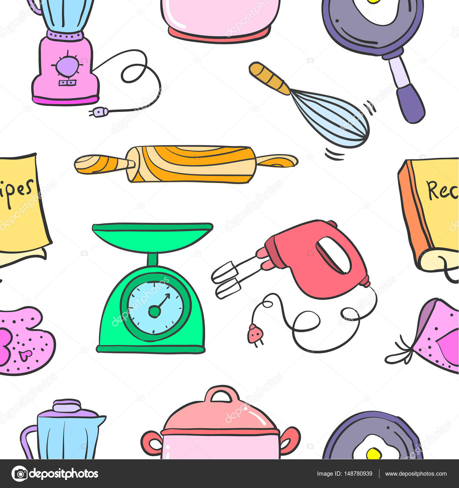 Kitchen Set Pattern Style Collection Stock Vector Kongvector