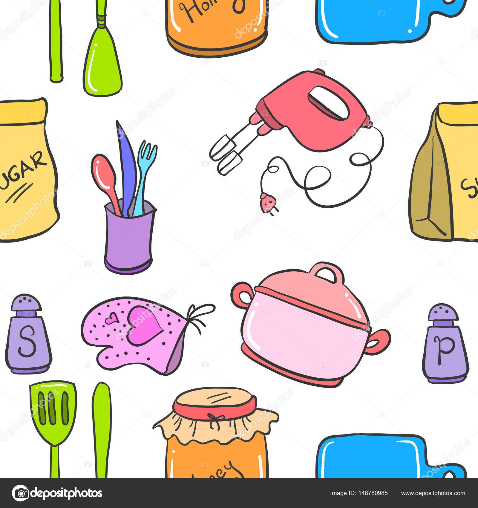 Illustration Vector Kitchen Set Doodles Stock Vector Kongvector