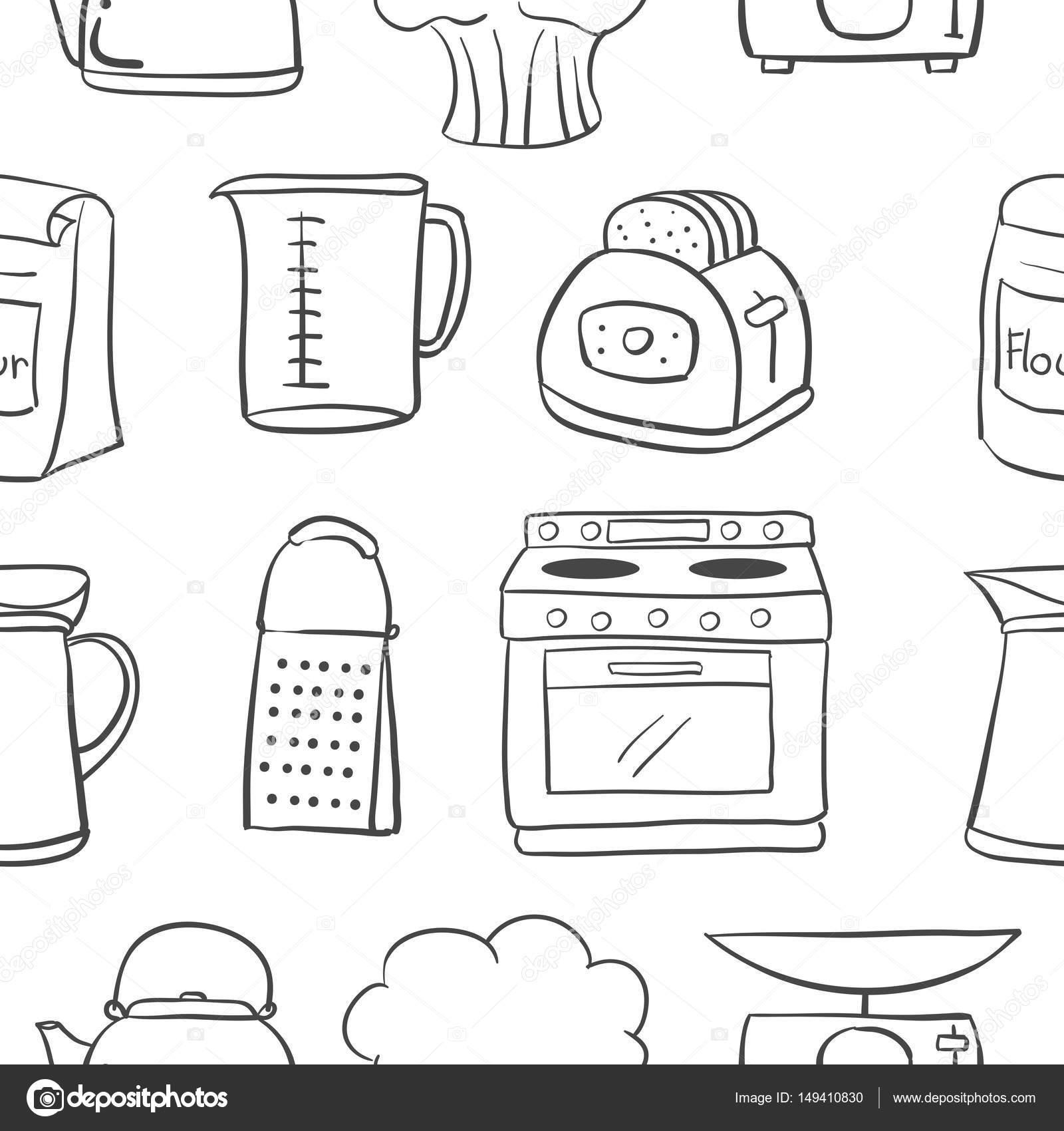 Hand Zu Zeichnen Kuche Objektstil Doodle Stockvektor C Kongvector
