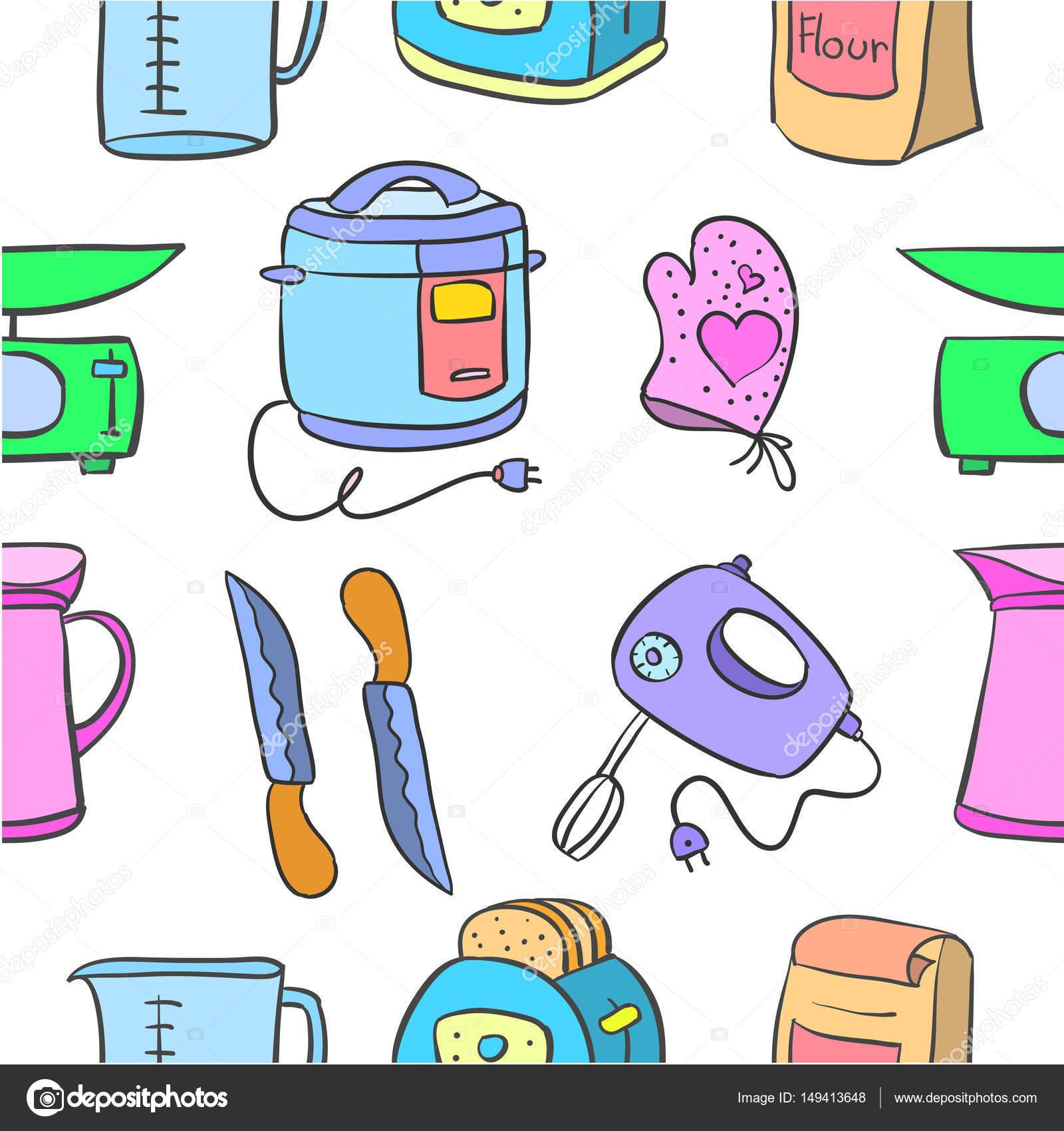 Vector Art Of Kitchen Set Doodles Stock Vector Kongvector 149413648