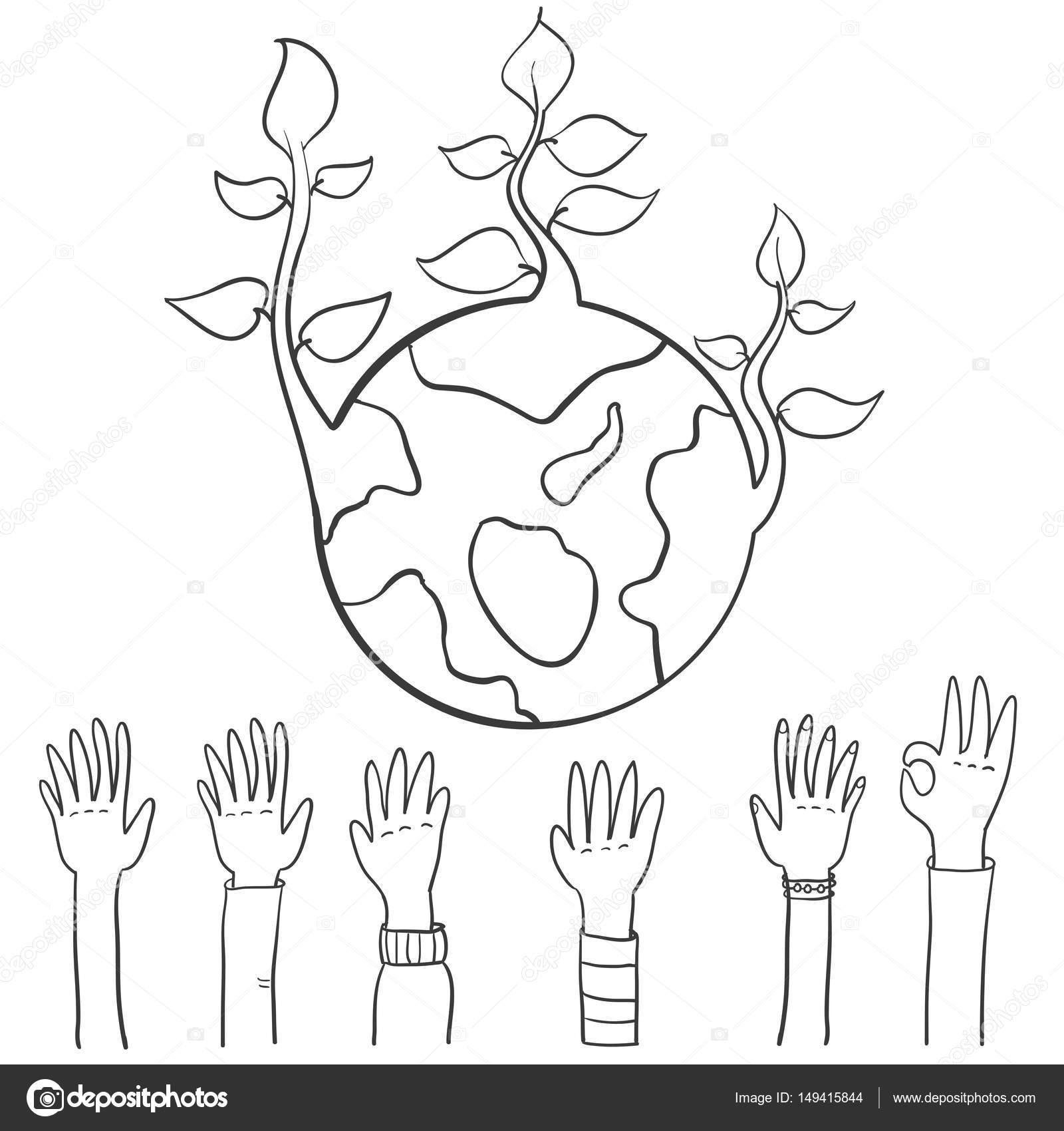Welt Hand ziehen Tag der Erde — Stockvektor © kongvector #149415844
