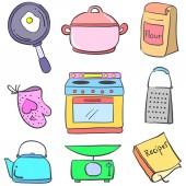 Doodle barevné vybavení kuchyně