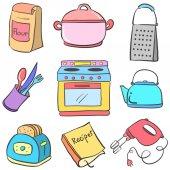 Kolekce kuchyně vybavení barevné doodle