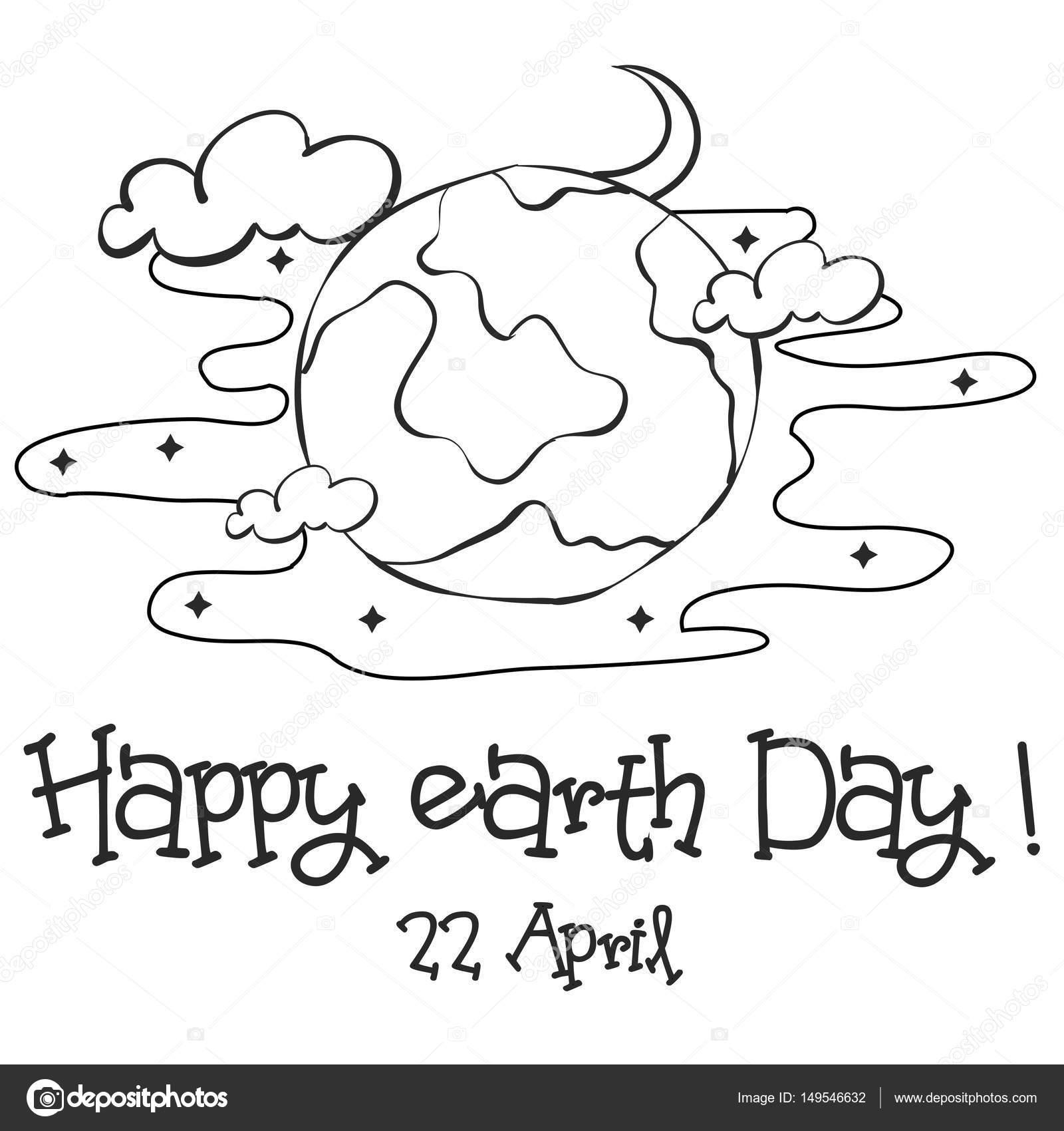 Glückliche Tag der Erde Skizze Hand zeichnen — Stockvektor ...