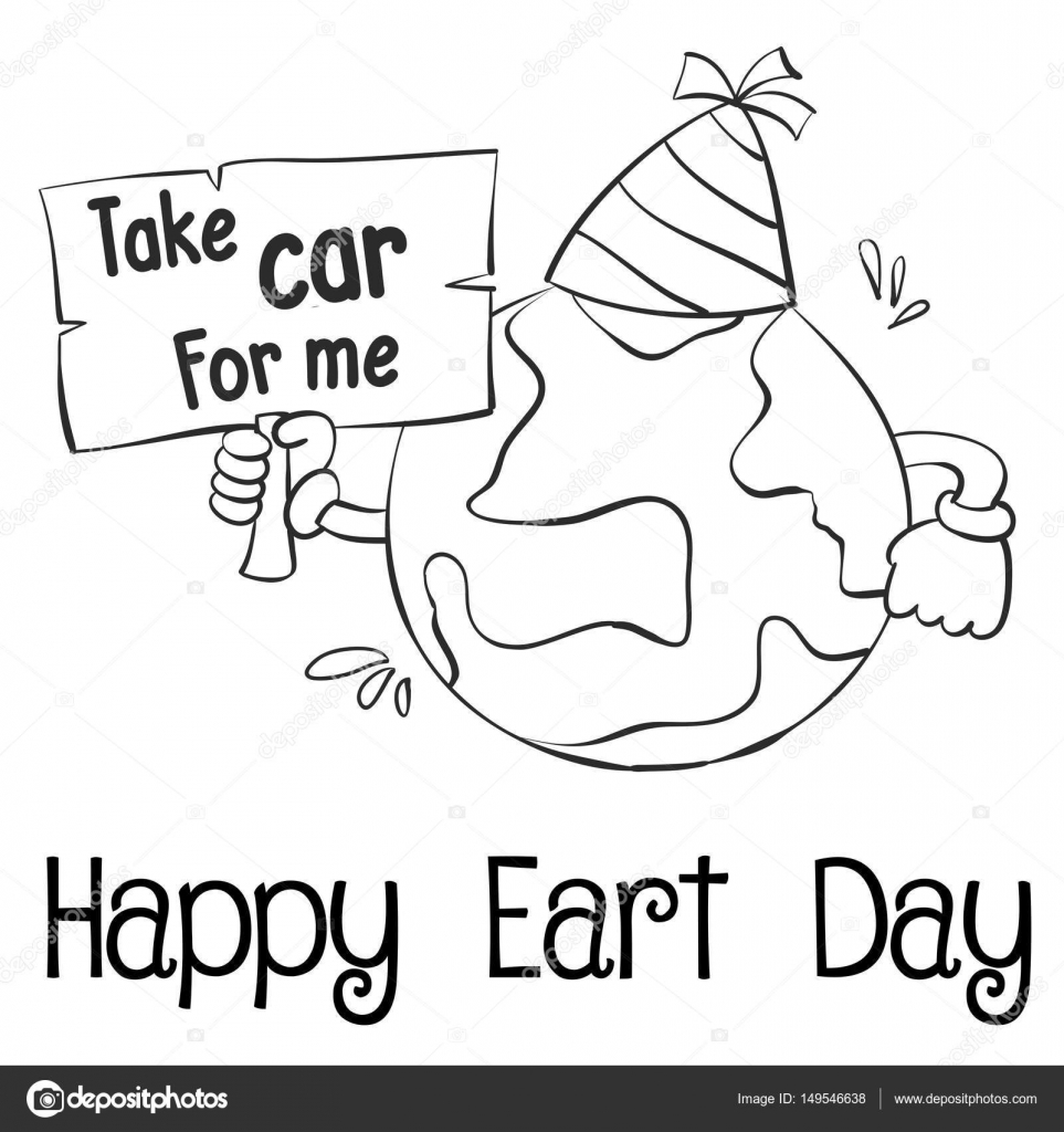 Happy Earth Day With World Hand Draw Stock Vector C Kongvector