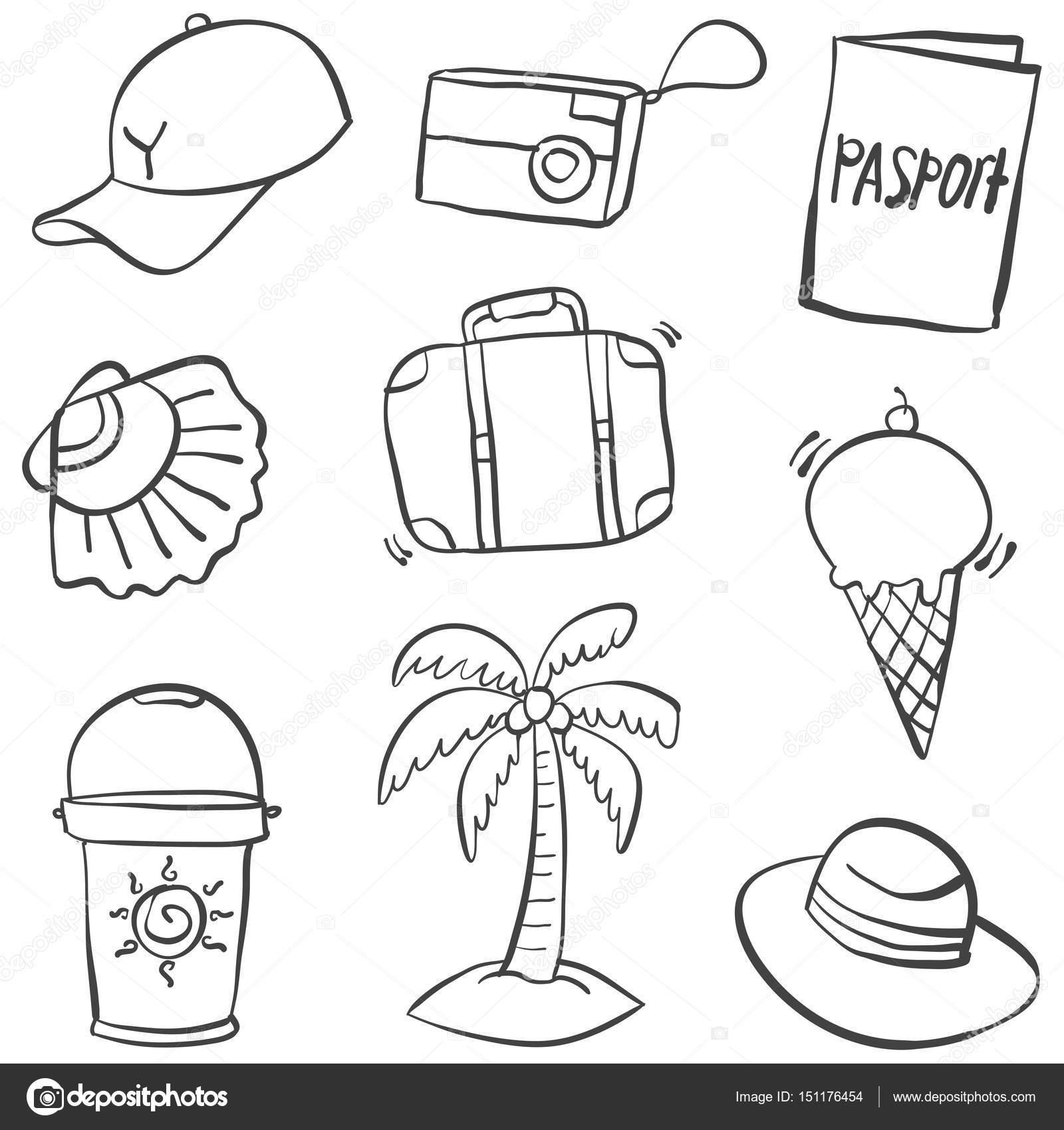 Yaz Nesne çizimi Doodle Stok Vektör Kongvector 151176454