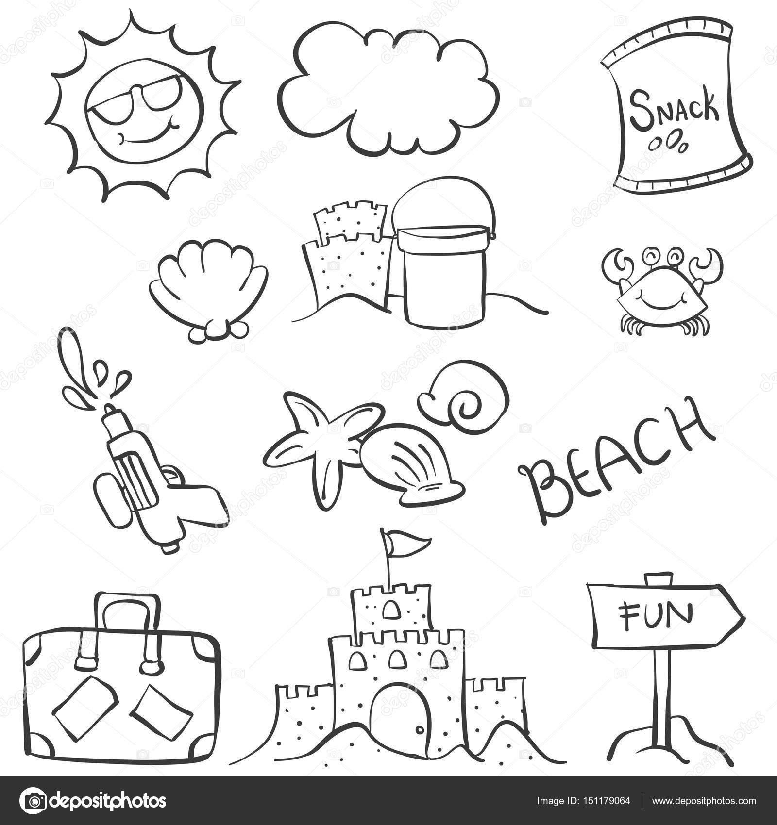 Doodle object summer beach hand draw vector illustration vector by