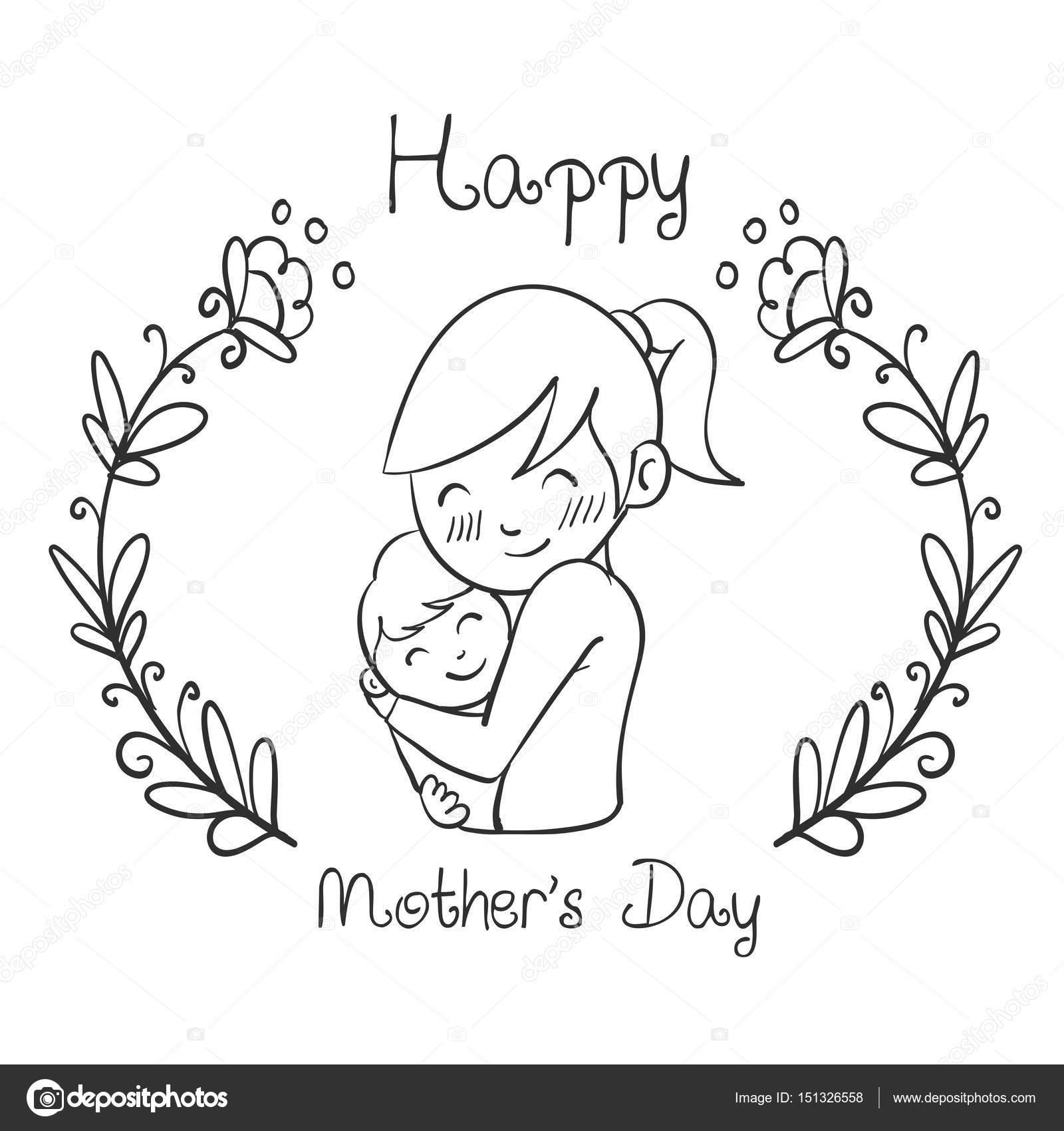 Imágenes Dibujo Del Dia De Las Madres Mano Dibujar Diseño