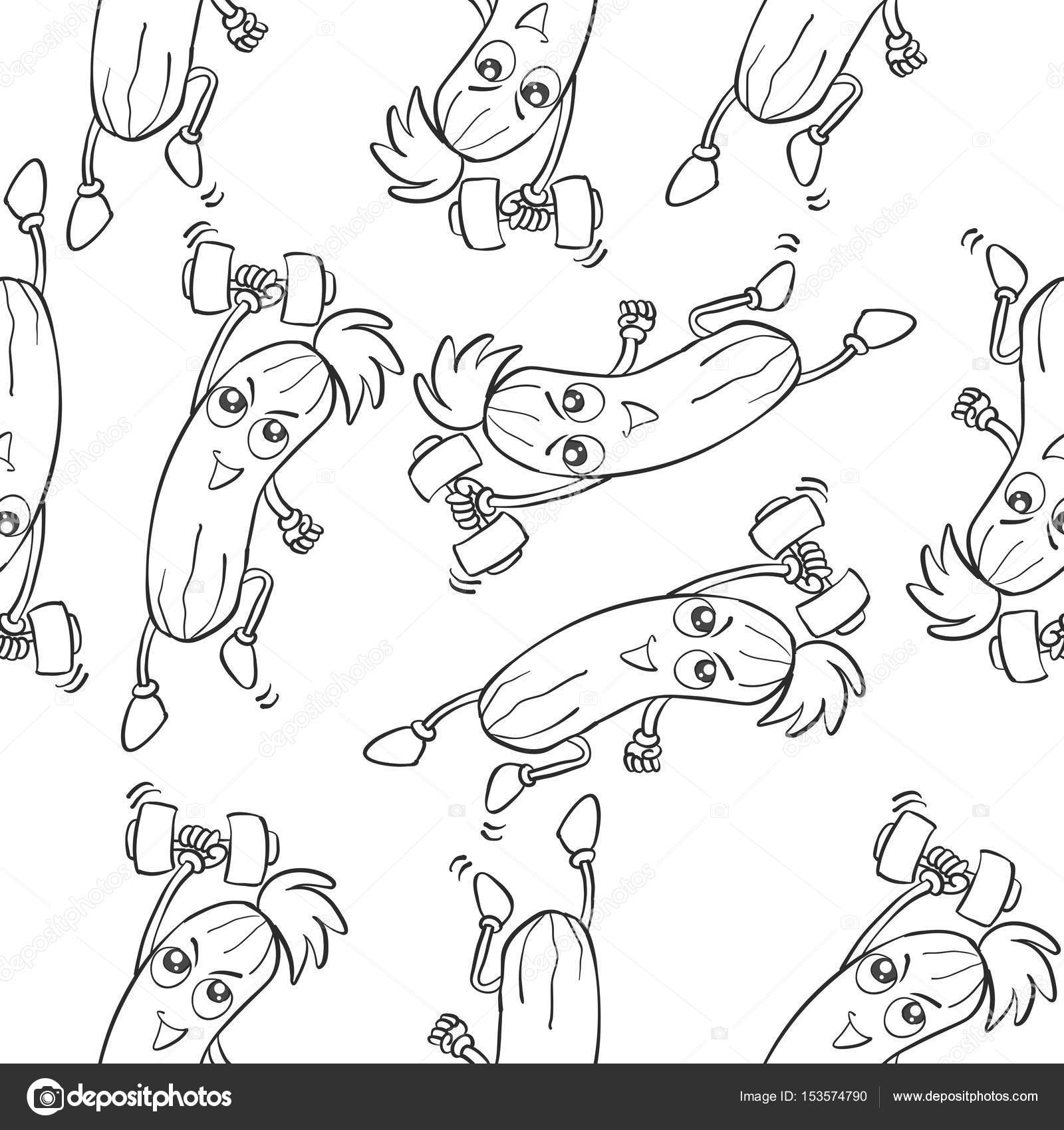 Kollektion Muster Gurke Hand Zeichnen Stockvektor Kongvector
