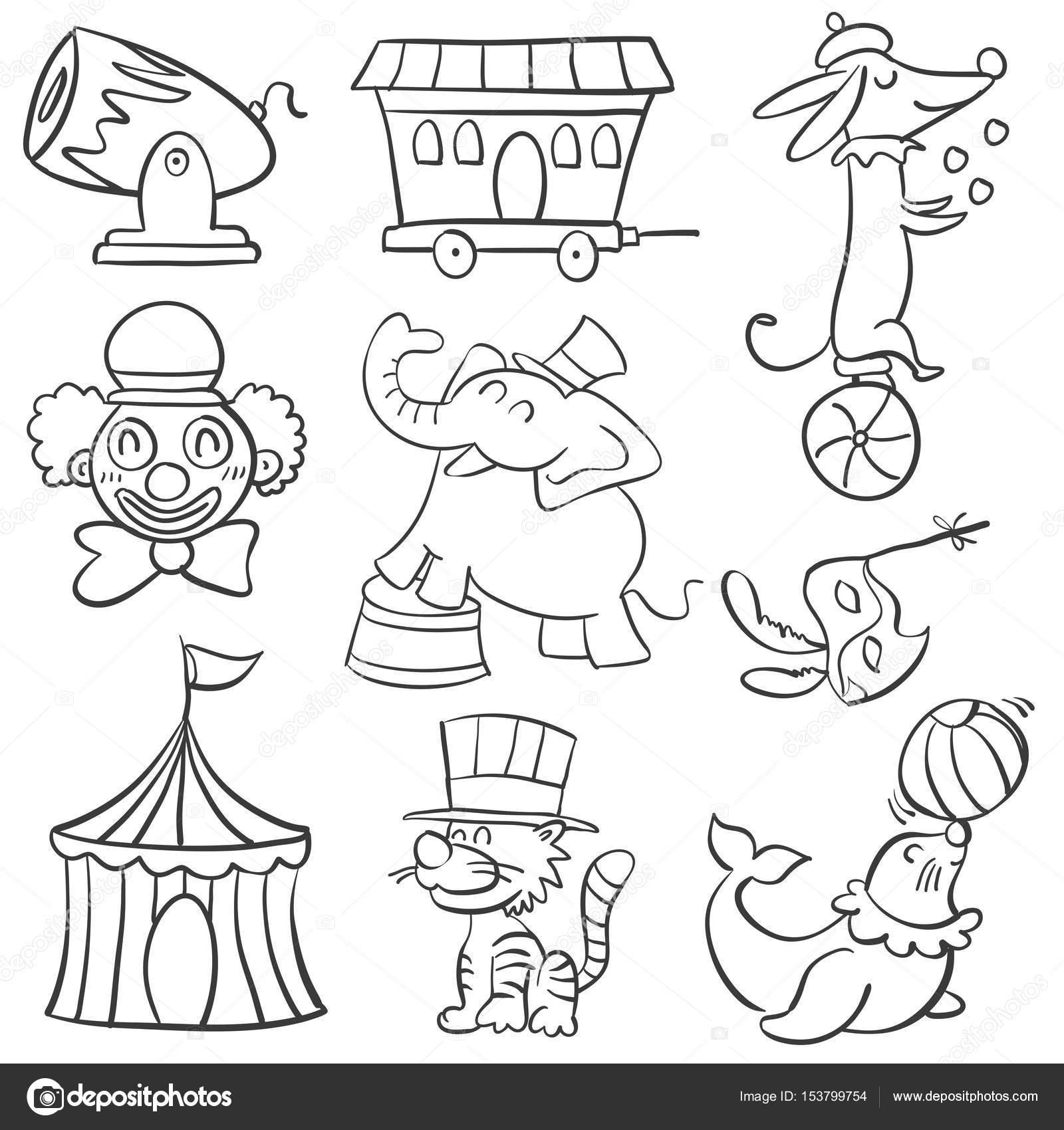 Cute Animal Circus Of Doodle Style Stock Vector C Kongvector